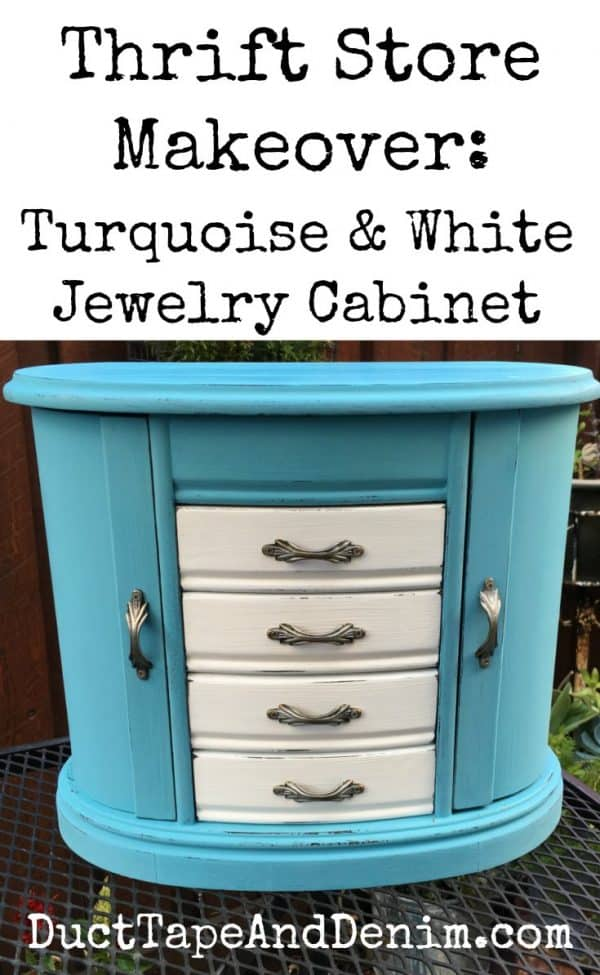 Thrift store makeover, turquoise and white jewelry cabinet, DuctTapeAndDenim.com
