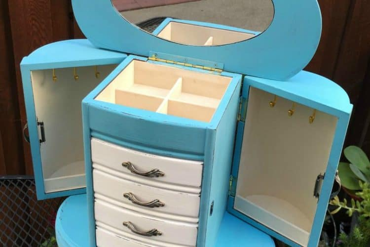 Turquoise and White Jewelry Cabinet with Rounded Sides, Thrift Store Decor Challenge