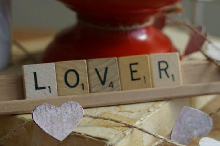 Red and Pink Valentine Scrabble Tiles Centerpiece in Vintage Mason Jar