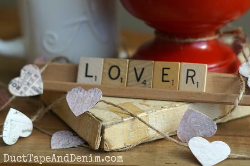 Valentine Scrabble tiles, LOVER, and heart garland