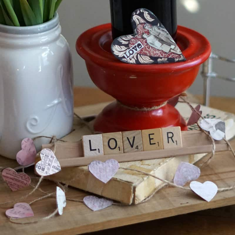 Valentine centerpiece, Scrabble tile LOVER and CCB heart garland