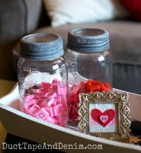 Valentine's Day centerpiece with felt valentine, pink, red Scrabble tiles | DuctTapeAndDenim.com