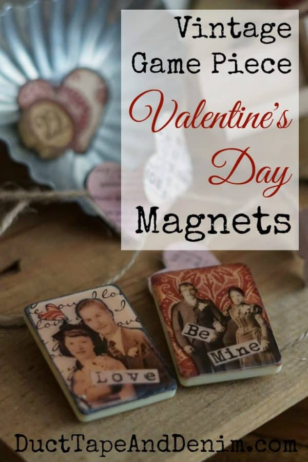 Valentine's Day Vintage Game Piece Magnets DIY on DuctTapeAndDenim.com