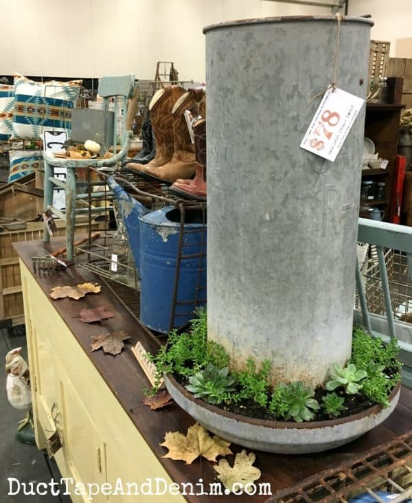 Vintage chicken waterer succulent planter, cowboy boots, and more at Junk Bonanza Portland | DuctTapeAndDenim.com