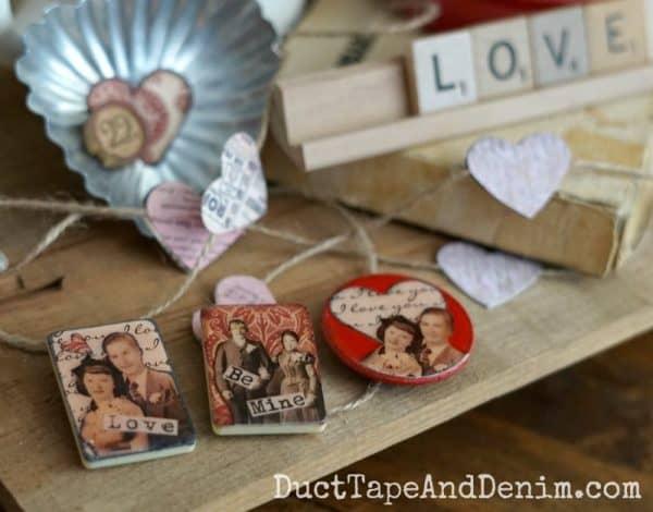Vintage game piece Valentine's Day magnets | DuctTapeAndDenim.com