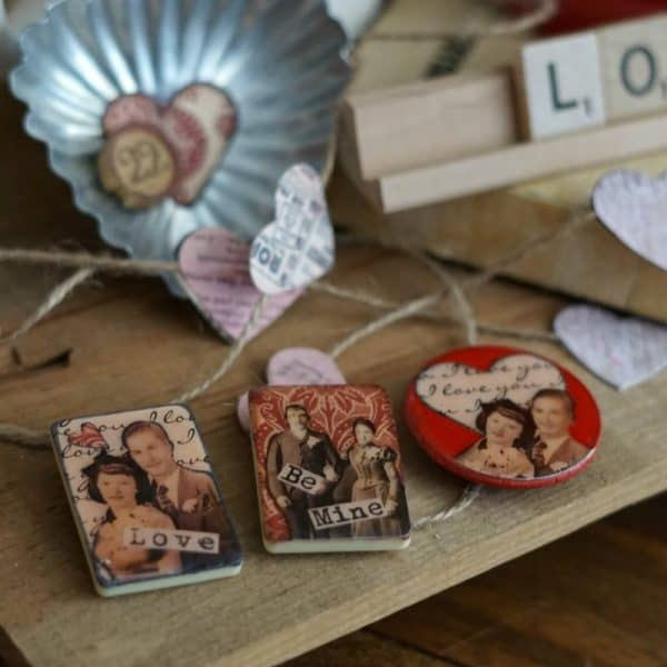 Vintage game piece Valentine's Day magnets SQUARE