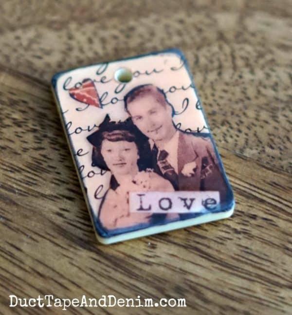 Vintage game piece Valentine's Day pendant | DuctTapeAndDenim.com