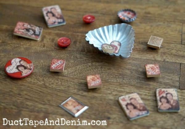 Vintage game piece and tart tin Valentine's Day magnets DIY on DuctTapeAndDenim.com