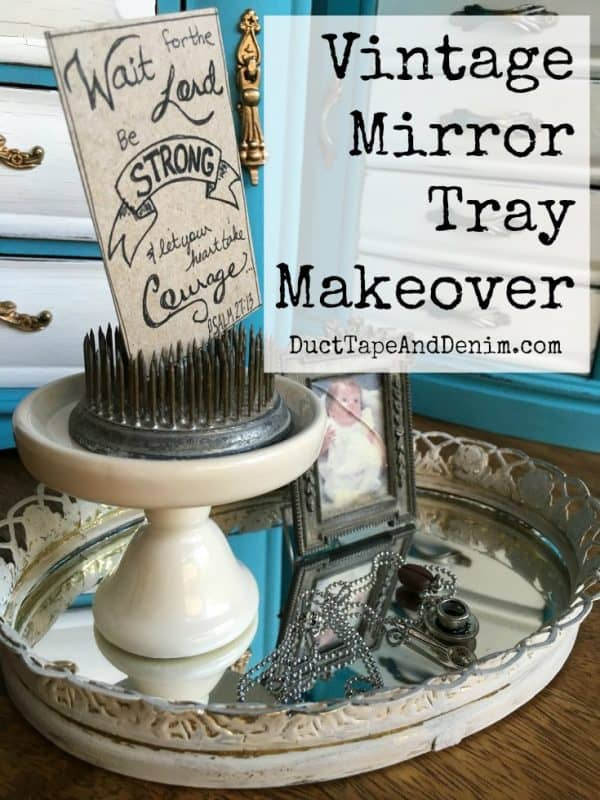 Vintage vanity mirror tray makeover. More thrift store makeovers on DuctTapeAndDenim.com