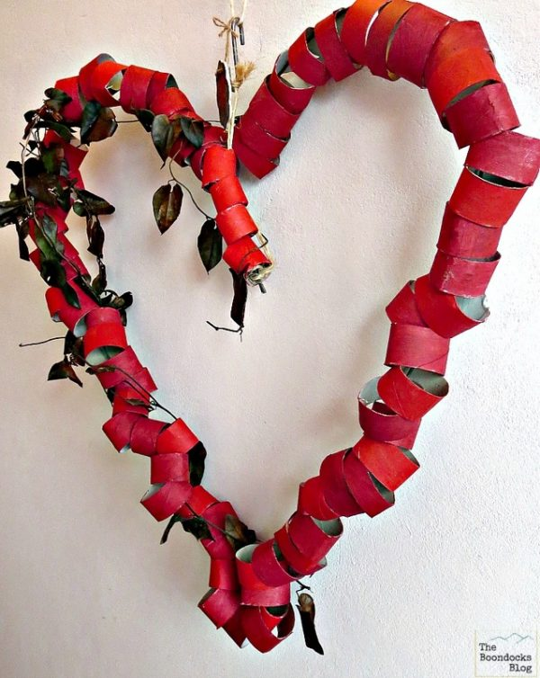 Big bold heart, red Valentine's Day wreath. More DIY wreath ideas on DuctTapeAndDenim.com