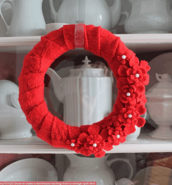red sweater DIY valentine wreath, More Valentine's Day wreaths on DuctTapeAndDenim.com