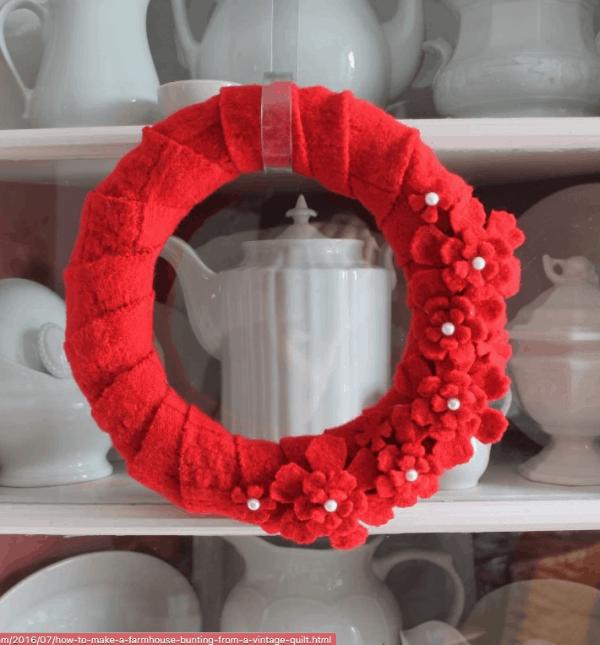 red sweater DIY valentine wreath, More Valentine's Day wreaths on DuctTapeAndDenim.com