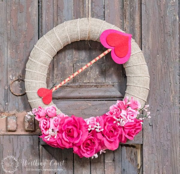Valentine wreath under 10.00. More DIY ideas on DuctTapeAndDenim.com
