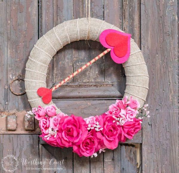Valentine wreath under 10.00. More DIY ideas on DuctTapeAndDenim.com