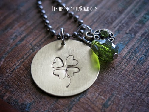 Bit of Luck Hand Stamped Necklace, more St. Patrick's day DIY jewelry and craft ideas on DuctTapeAndDenim.com