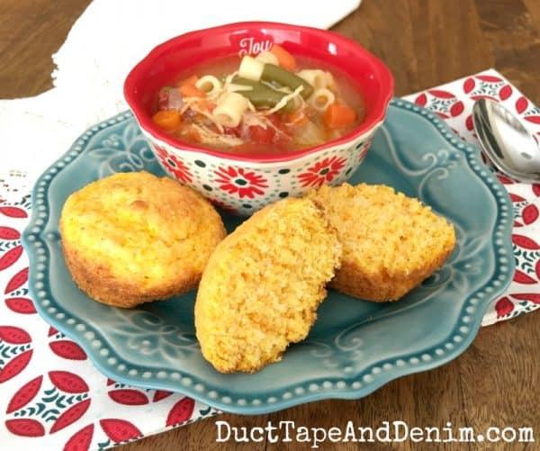 Butternut squash cornbread muffins and soup | DuctTapeAndDenim.com