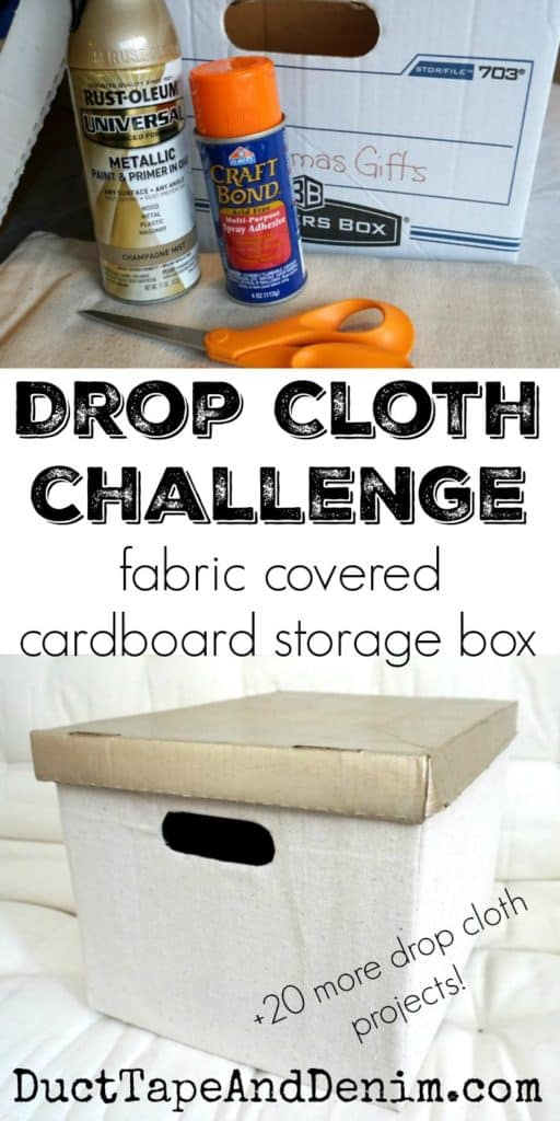 DIY Drop Cloth Fabric Covered Cardboard Box, cheap easy storage solution | DuctTapeAndDenim.com
