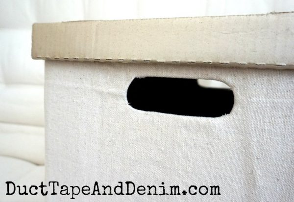Details, fabric covered cardboard storage box, drop cloth, spray painted lid | DuctTapeAndDenim.com