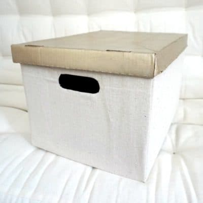 DIY Drop Cloth Fabric Covered Cardboard Box, a Cheap & Easy Storage Solution