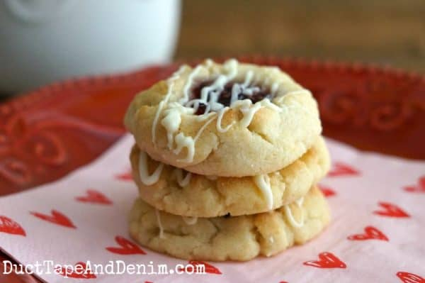 Easy Raspberry Thumbprint Cookies from cake mix | DuctTapeAndDenim.com