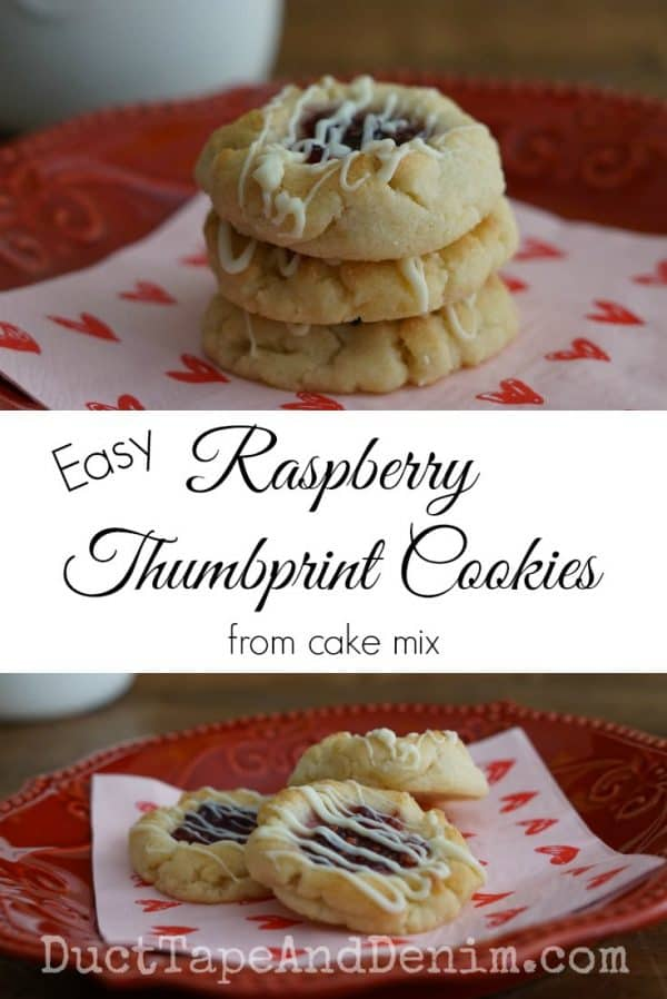 Easy Raspberry Thumbprint Cookies from cake mix. Recipe on DuctTapeAndDenim.com