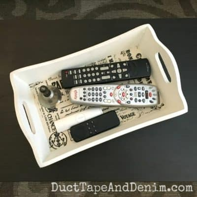 DIY Remote Control Tray, Easy & Useful Thrift Store Makeover