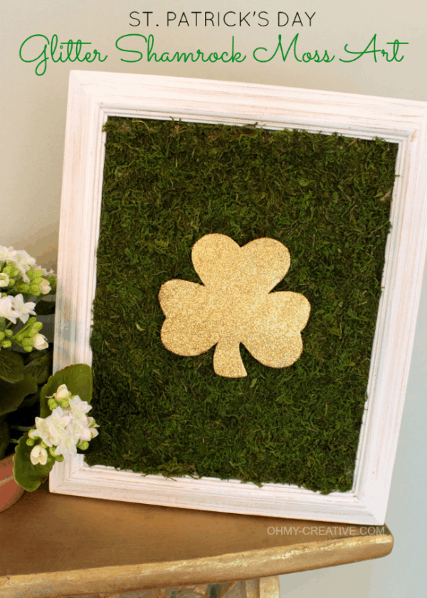 Glitter Shamrock Moss Art, more DIY St. Patrick's Day craft ideas on DuctTapeAndDenim.com