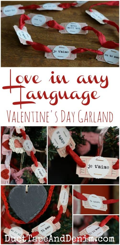 Love in any Language, DIY Valentine's Day garland with blank tickets. See more on DuctTapeAndDenim.com