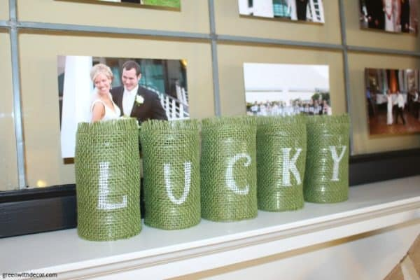 Lucky Upcycled Tin Cans, more DIY St. Patrick's Day crafts and decor on DuctTapeAndDenim.com