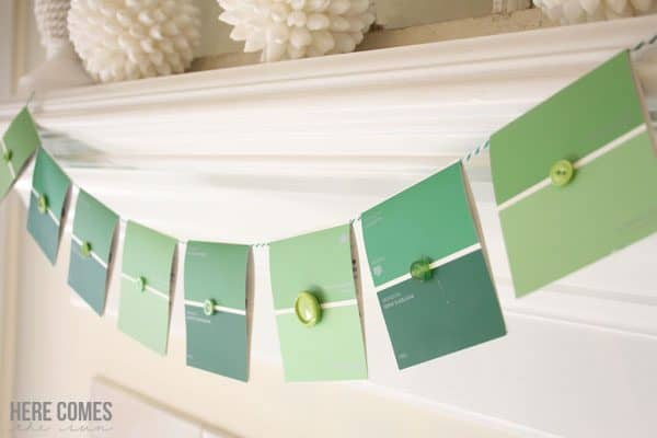 Paint chip banner & more upcycled St. Patrick's Day craft and decoration ideas on DuctTapeAndDenim.com
