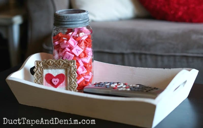 Pink and red Scrabble tiles for Valentine's Day coffee table decor