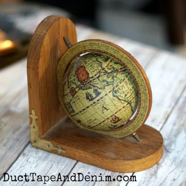 Thrift store haul video, vintage globe book end | DuctTapeAndDenim.com