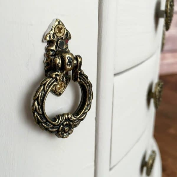 Thrift store makeover with white chalky finish paint, jewelry cabinet upcycle DIY project