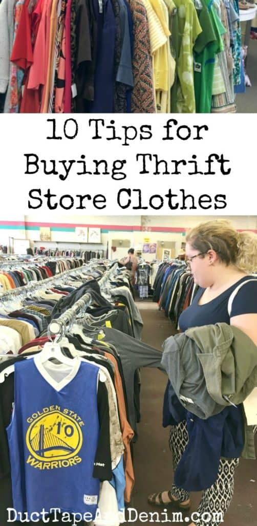 10 tips for buying thrift store clothes. More thrifting tips on DuctTapeAndDenim.com