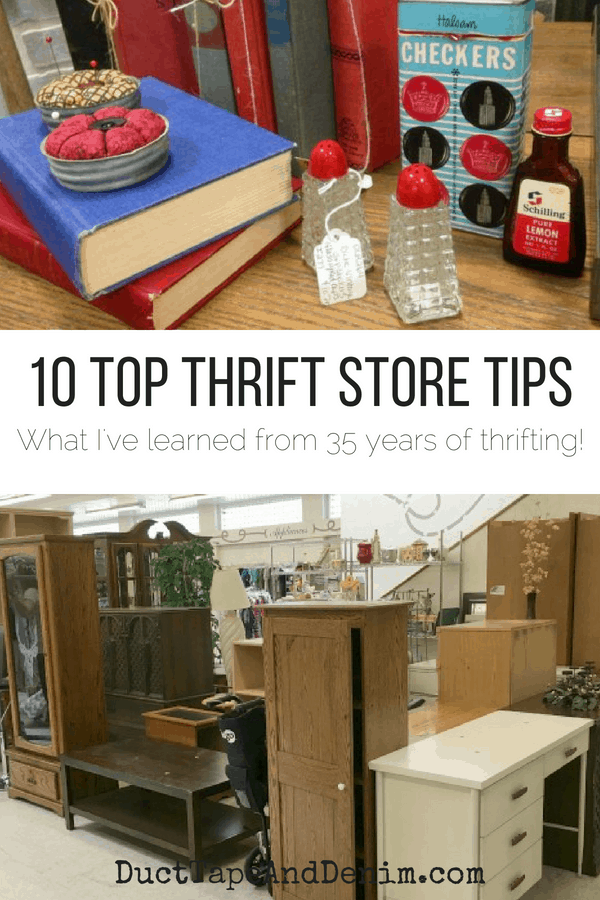 10 Top Thrift Store Tips, collage