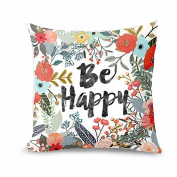 Be Happy Flower Pillow Cover, see more spring pillow covers on DuctTapeAndDenim.com