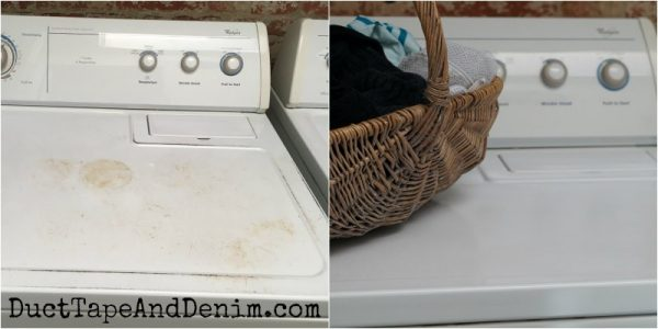 Before and after painting my dryer with appliance paint | DuctTapeAndDenim.com