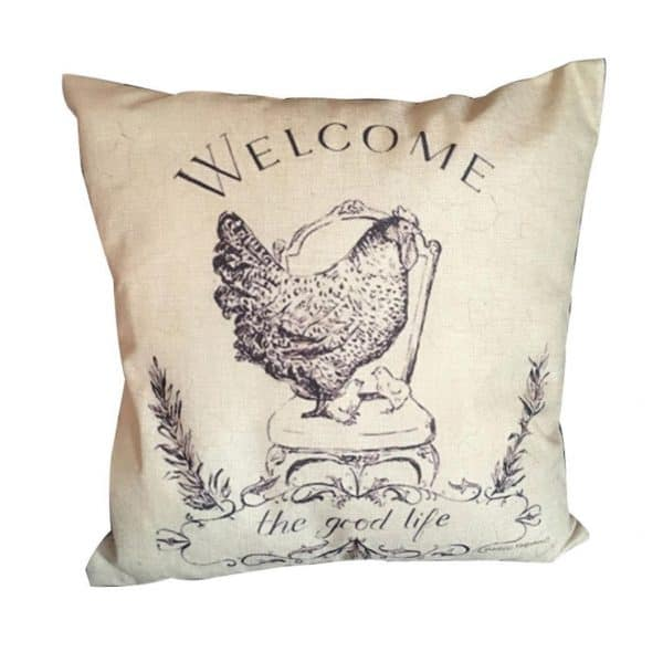 Chicken Pillow Cover, see more spring pillow covers on DuctTapeAndDenim.com