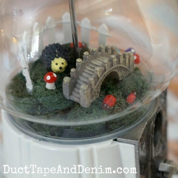 Close up of thrifted gumball machine DIY fairy garden tutorial | DuctTapeAndDenim.com