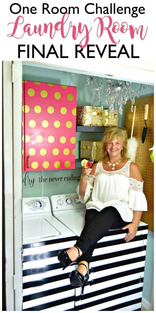 Colorful laundry room reveal. See all 5 amazing DIY laundry rooms that will make you want to do laundry on DuctTapeAndDenim.com