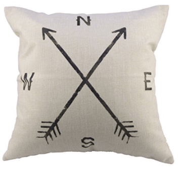 Compass pillow cover, farmhouse living room, more spring pillow covers on DuctTapeAndDenim.com