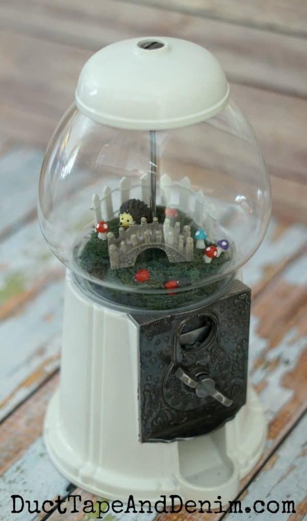 DIY fairy garden in thrifted gumball machine tutorial on DuctTapeAndDenim.com