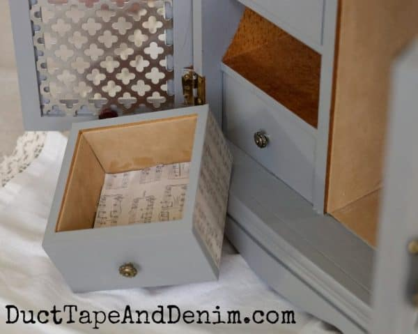 Drawer detail on jewelry cabinet makeover | DuctTapeAndDenim.com
