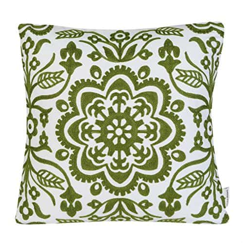 Embroidery Floral Geometric Pillow Cover in Green, see more spring pillow covers on DuctTapeAndDenim.com