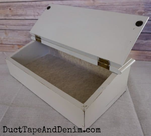 Felt added to the inside of thrift store writing desk | DuctTapeAndDenim.com