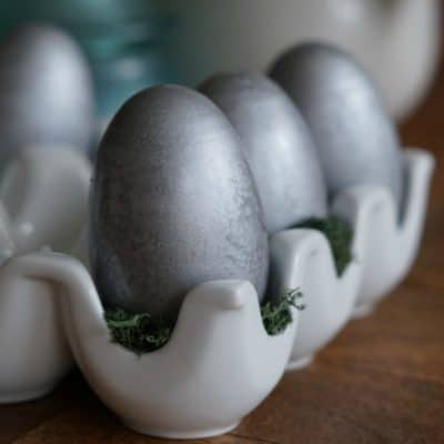 Galvanized Wooden Easter Eggs, an Easy Spring Spray Paint Project