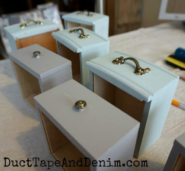 Painting drawers on thrift store jewelry cabinets | DuctTapeAndDenim.com