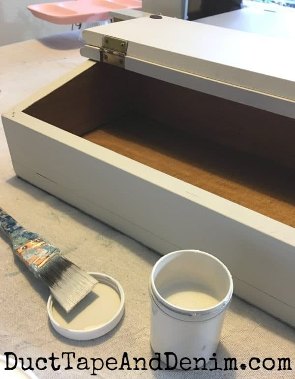 Painting the wood box from thrift store