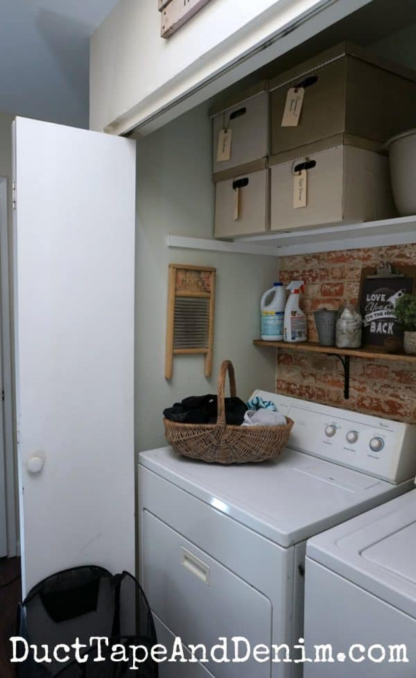 Side view of completed laundry closet makeover | DuctTapeAndDenim.com
