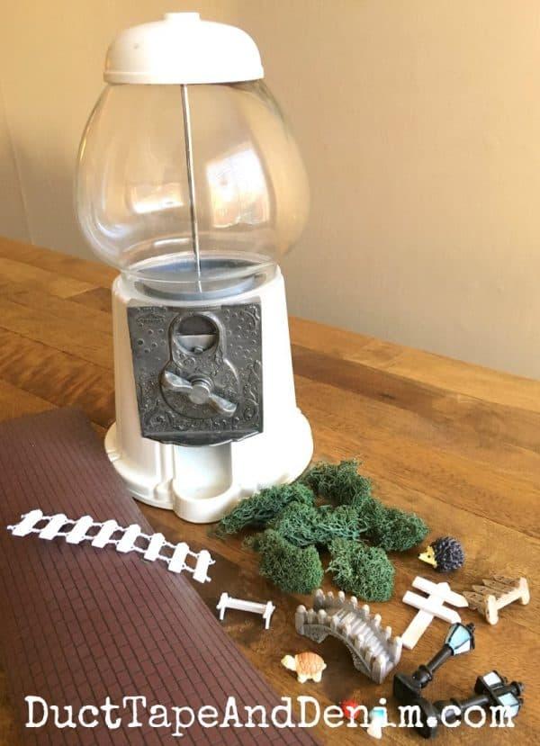 Supplies for my gumball machine fairy garden